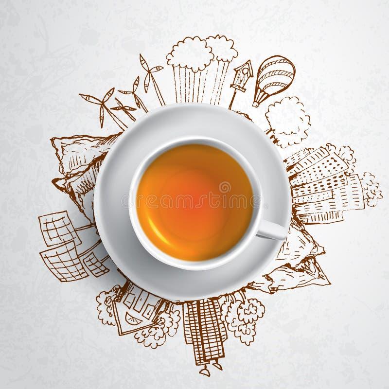 Zwarte thee met de krabbels van de cirkelecologie Geschetste ecoelementen met kop van groene thee, vectorillustratie royalty-vrije illustratie