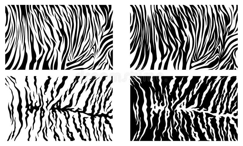 Zwarte Tiger Stripes Vector Pattern Texture-Achtergrondvoorraadinzameling royalty-vrije illustratie