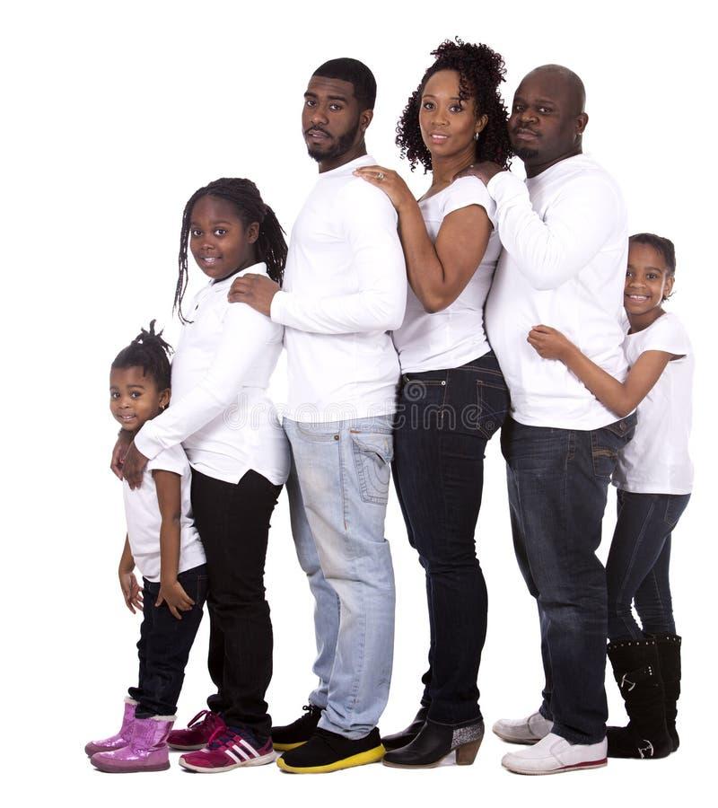 Zwarte toevallige familie stock fotografie