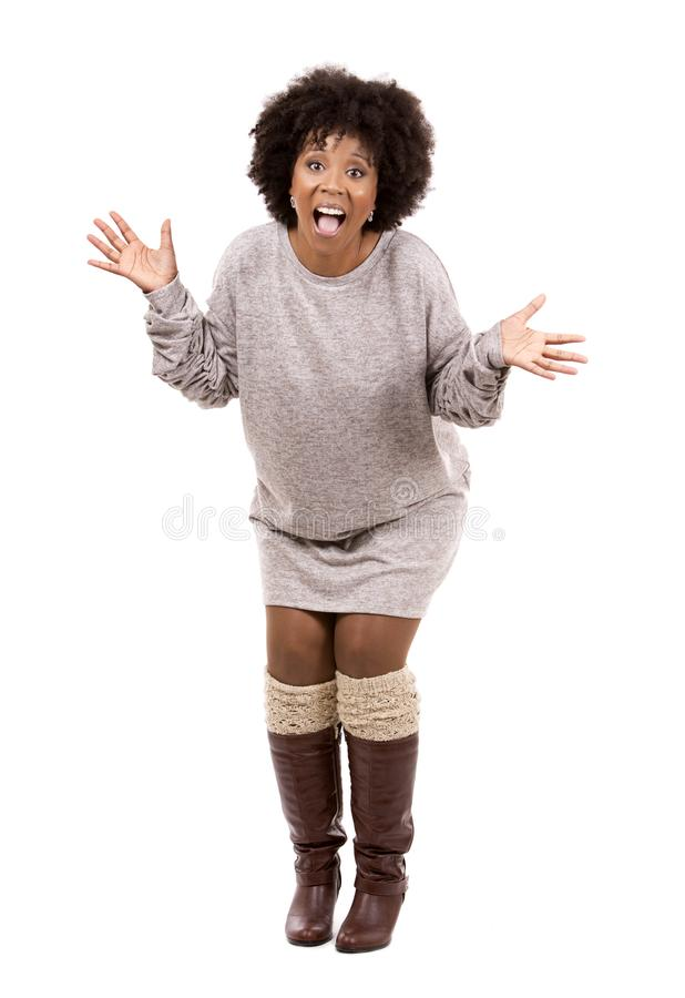 Zwarte toevallige vrouw op witte achtergrond royalty-vrije stock afbeeldingen