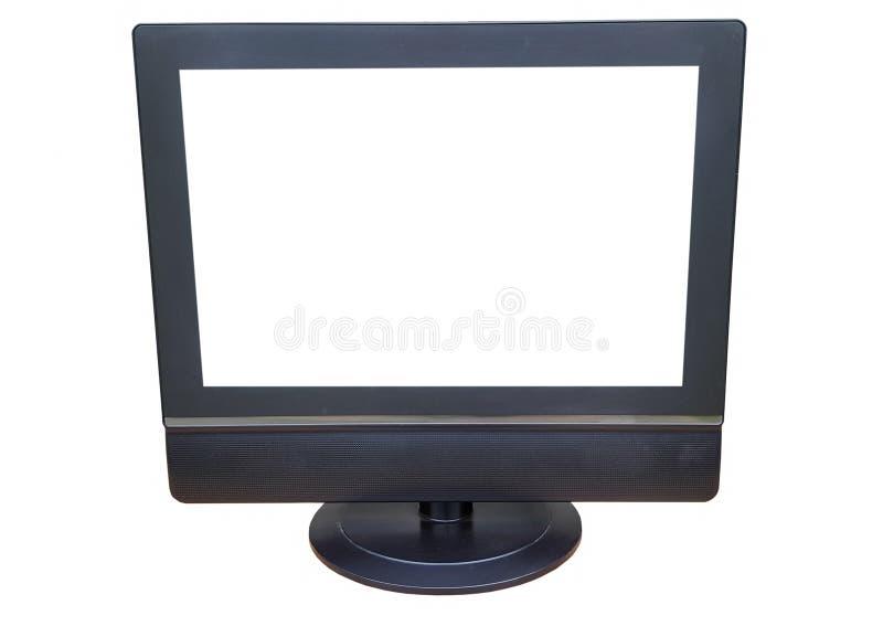 Zwarte TV op wit royalty-vrije stock fotografie