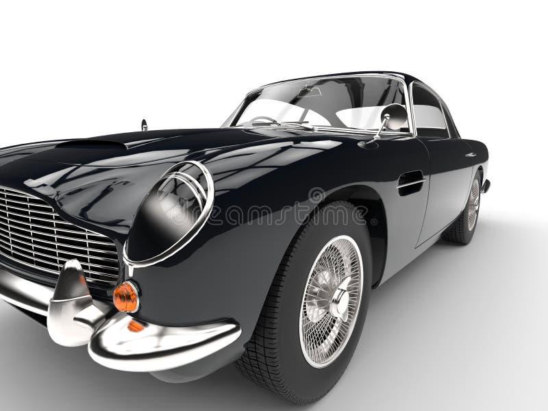 Zwarte uitstekende auto - koplamp en bandclose-up royalty-vrije illustratie
