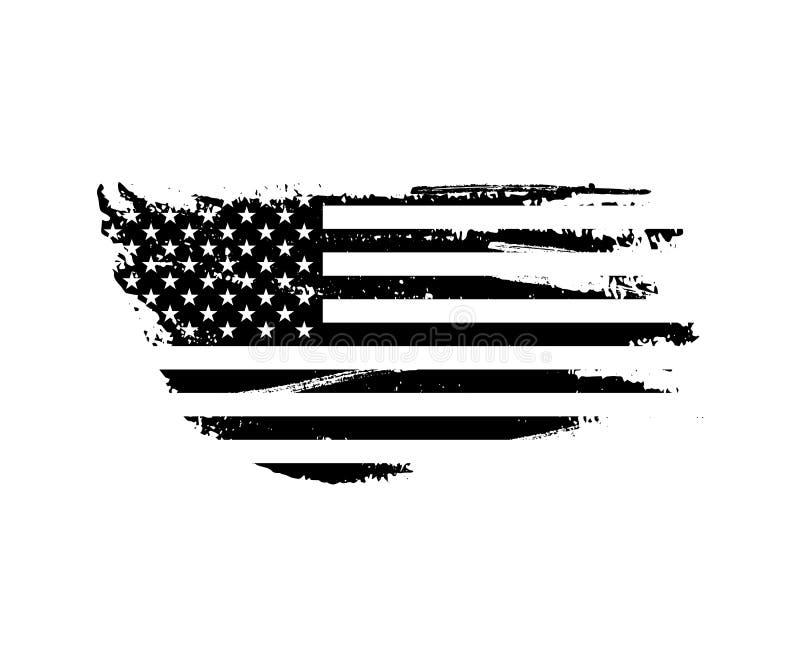 Zwarte uitstekende de vlagillustratie van de V.S. Vector Amerikaanse vlag op grungetextuur stock illustratie