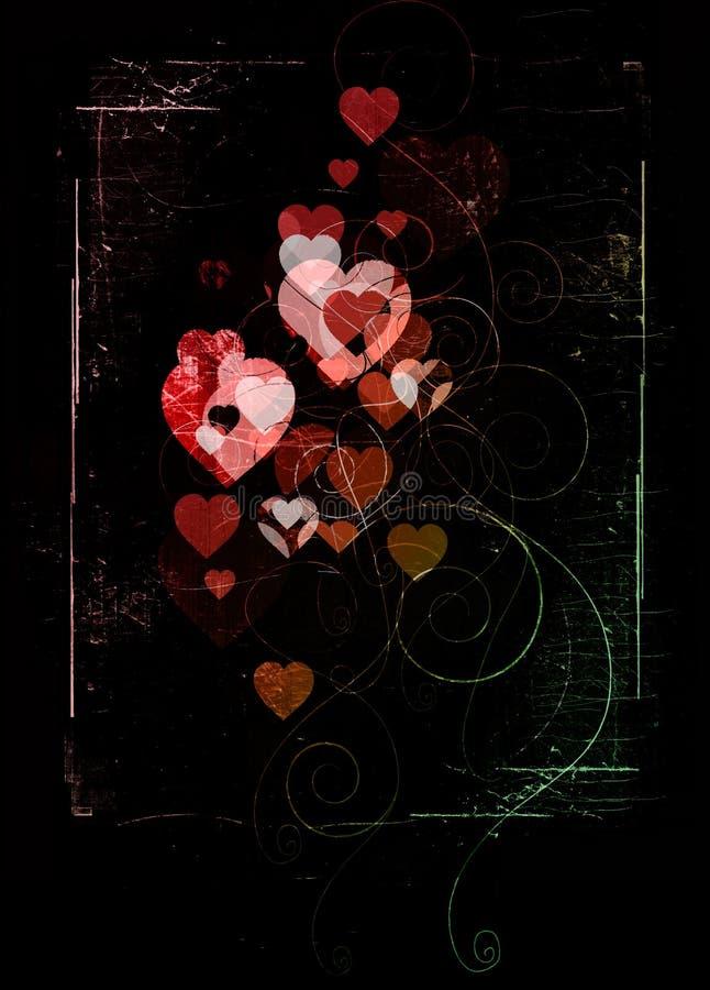 Zwarte valentijnskaart royalty-vrije illustratie