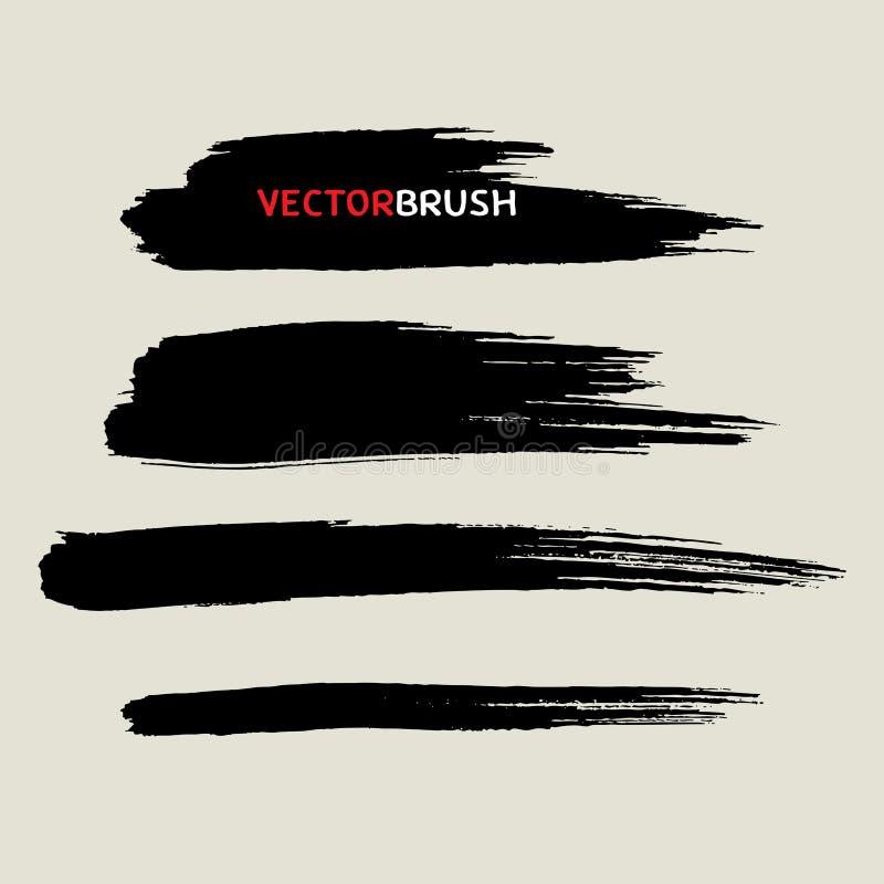 Zwarte van de borsteltextuur reeks als achtergrond vector illustratie