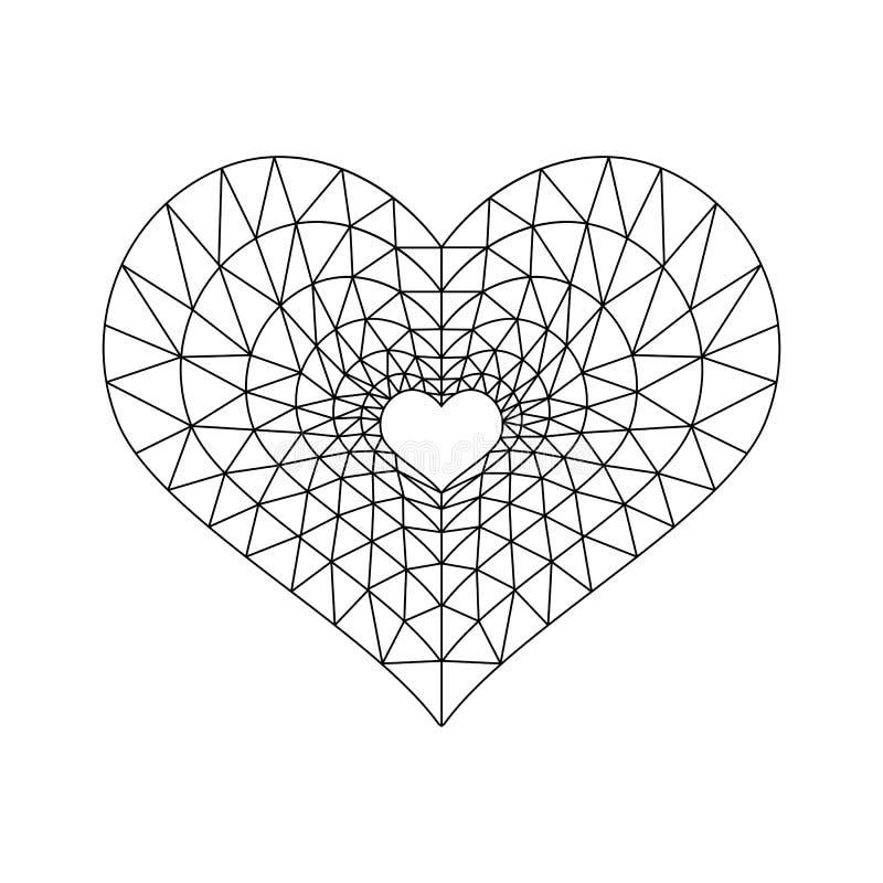 Zwarte van de hart de lage polylijn stock illustratie
