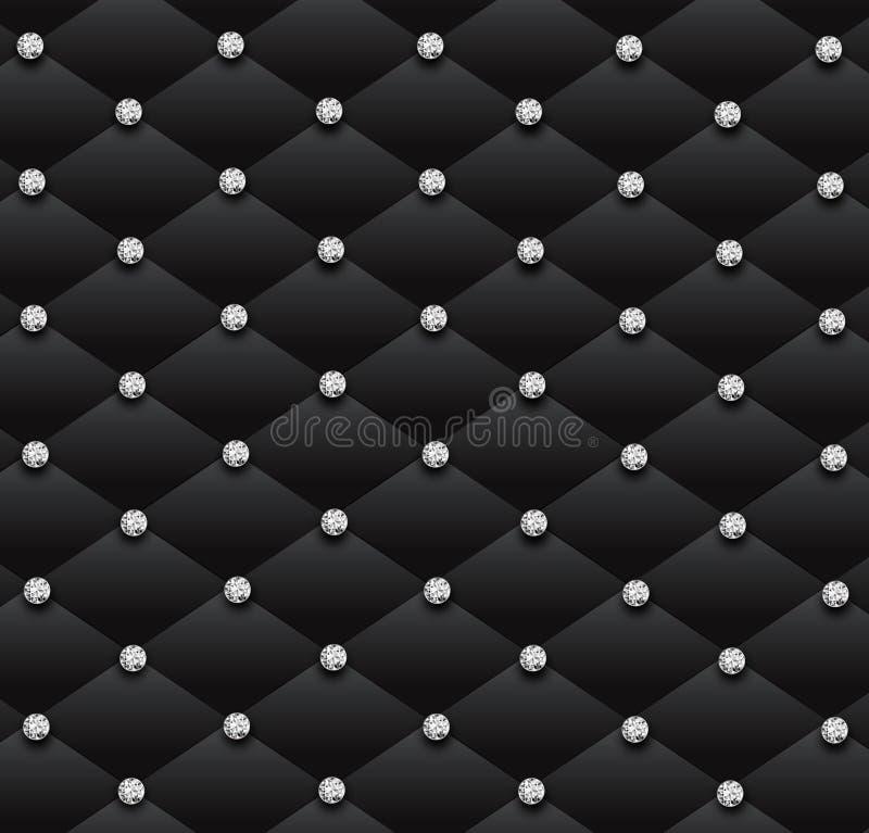Zwarte van de het leerglamour van bankdiamanten het patroonachtergrond stock illustratie