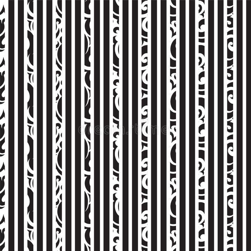 Zwarte van de witte verticale gestreepte en het patroonachtergrond krulstijl stock fotografie