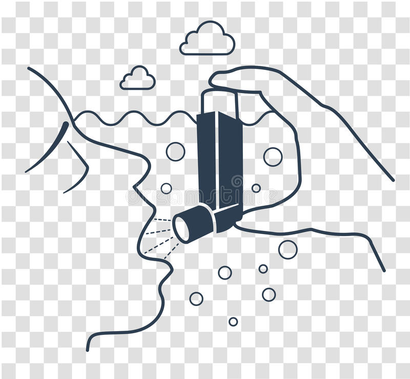 Zwarte van het pictogram de bronchiale astma stock illustratie