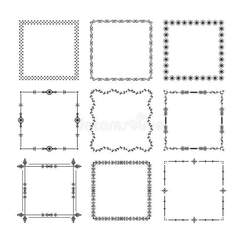 Zwarte van Kerstmis vierkante kaders en grenzen geplaatste embleempictogrammen vector illustratie