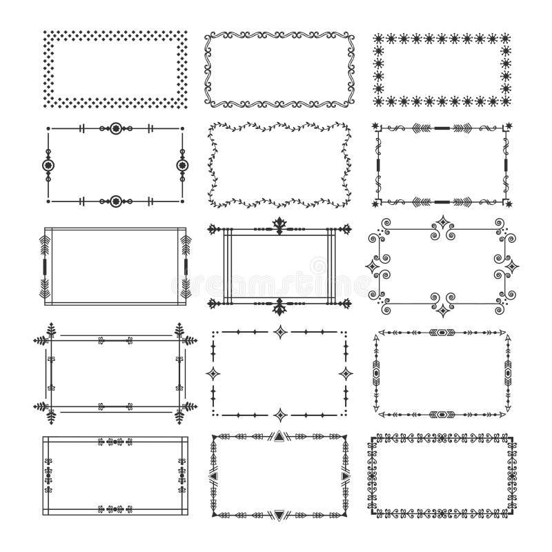 Zwarte van rechthoekkaders en grenzen geplaatste embleempictogrammen royalty-vrije illustratie