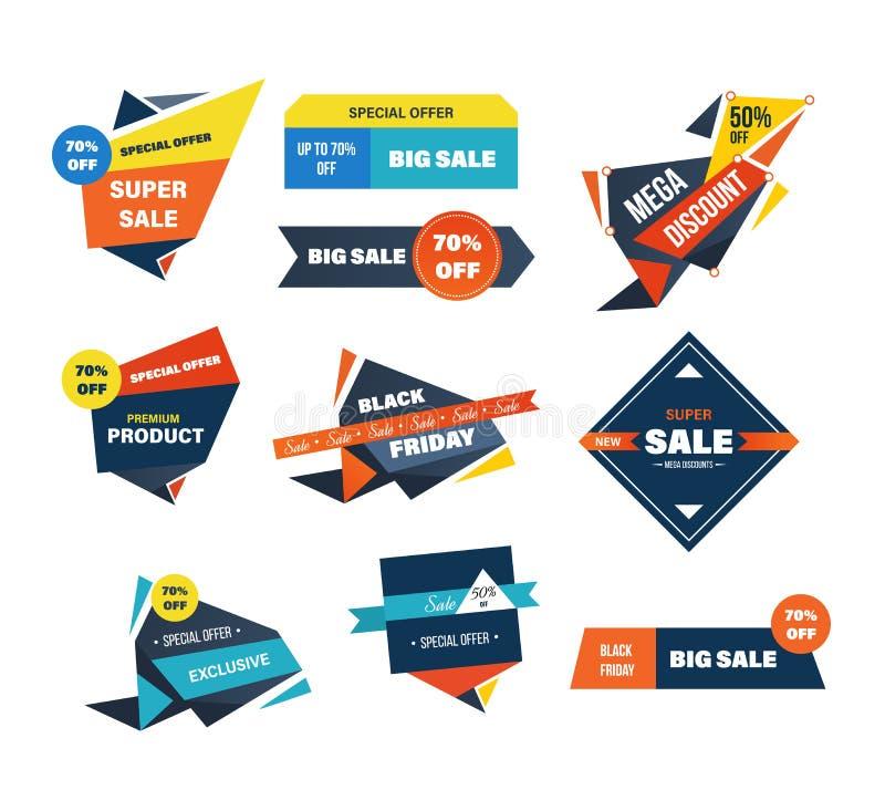 Zwarte van vrijdagverkoop en kortingen etiketten geplaatst geïsoleerde vectorillustratie stock illustratie