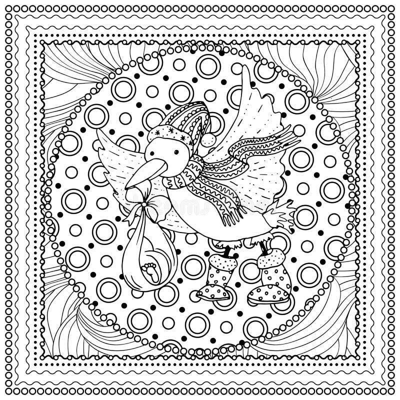 Zwarte vector monokleurenillustratie voor Vrolijke Kerstmis vector illustratie