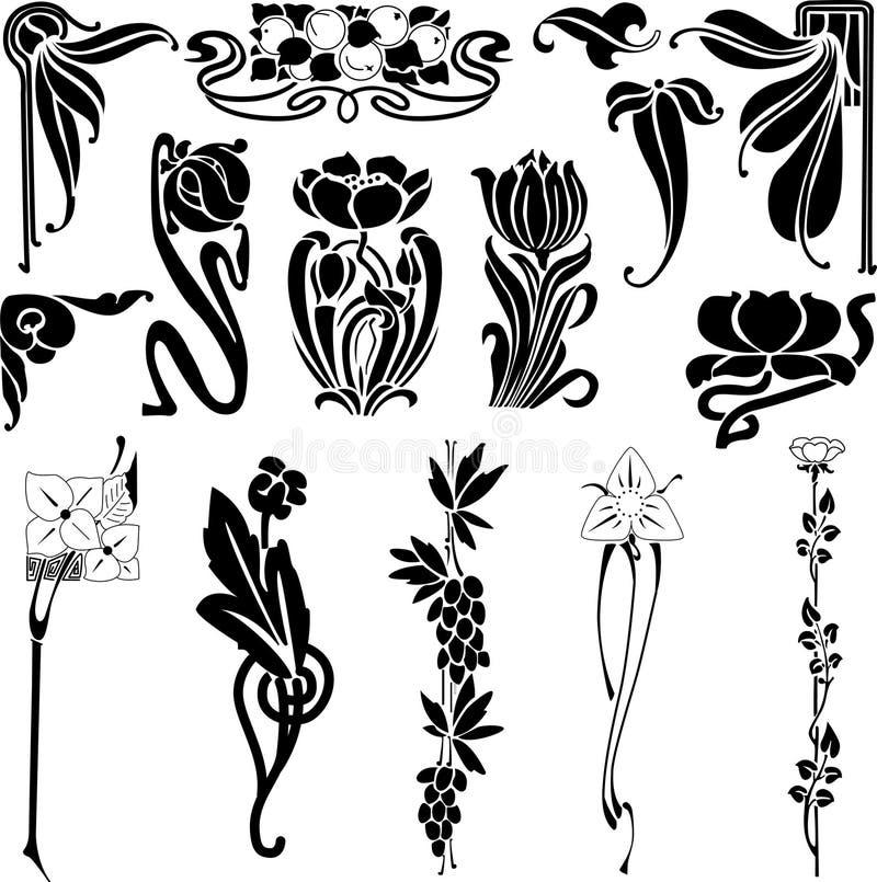 Zwarte vectorbloemen stock illustratie