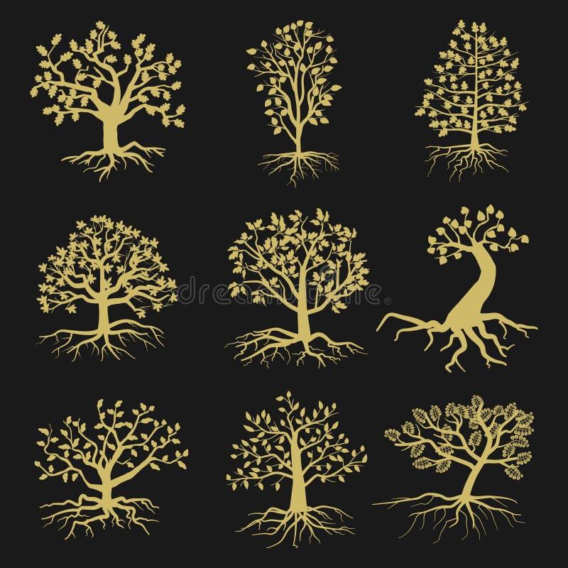 Zwarte vectorboomsilhouetten met bladeren en wortels royalty-vrije illustratie