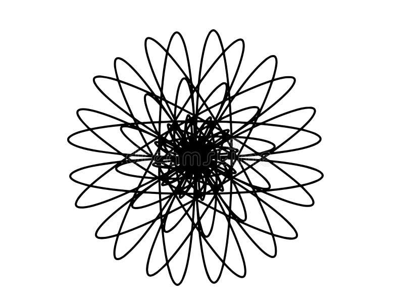 Zwarte vectormandala op witte achtergrond Sferisch meetkundedecor Ronde decoratie in futuristische stijl vector illustratie