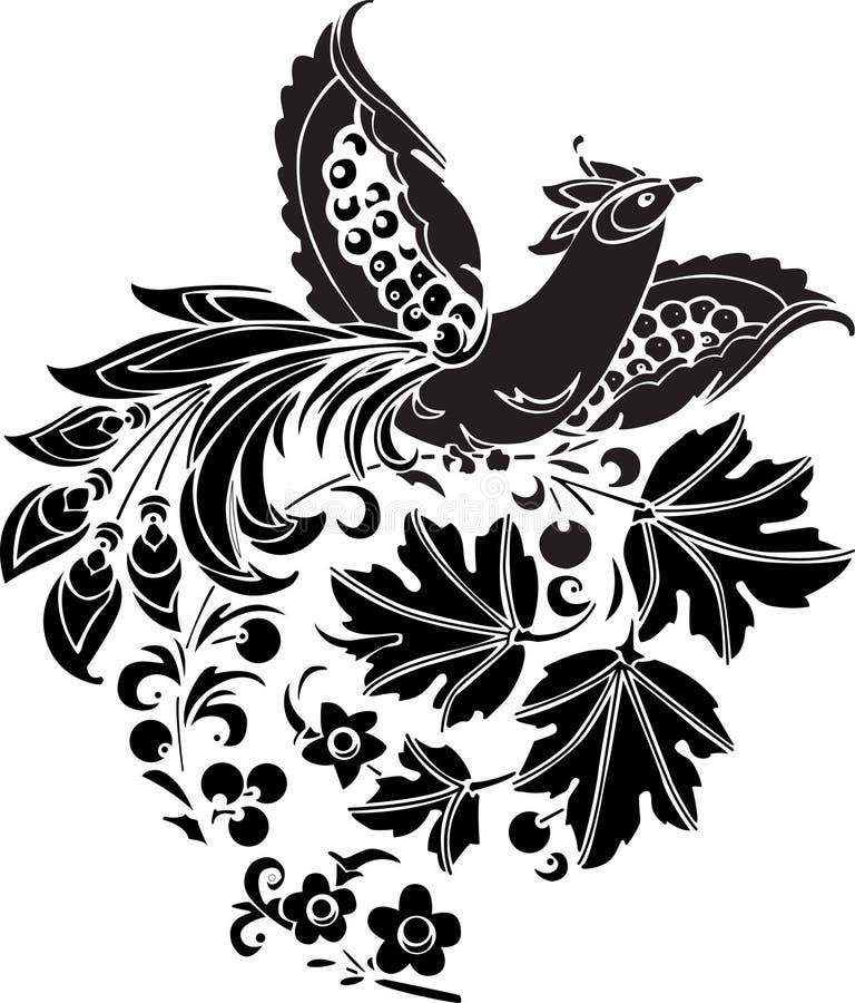 Zwarte vectorvogel royalty-vrije illustratie