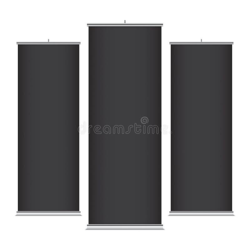Zwarte verticale bannermalplaatjes stock illustratie