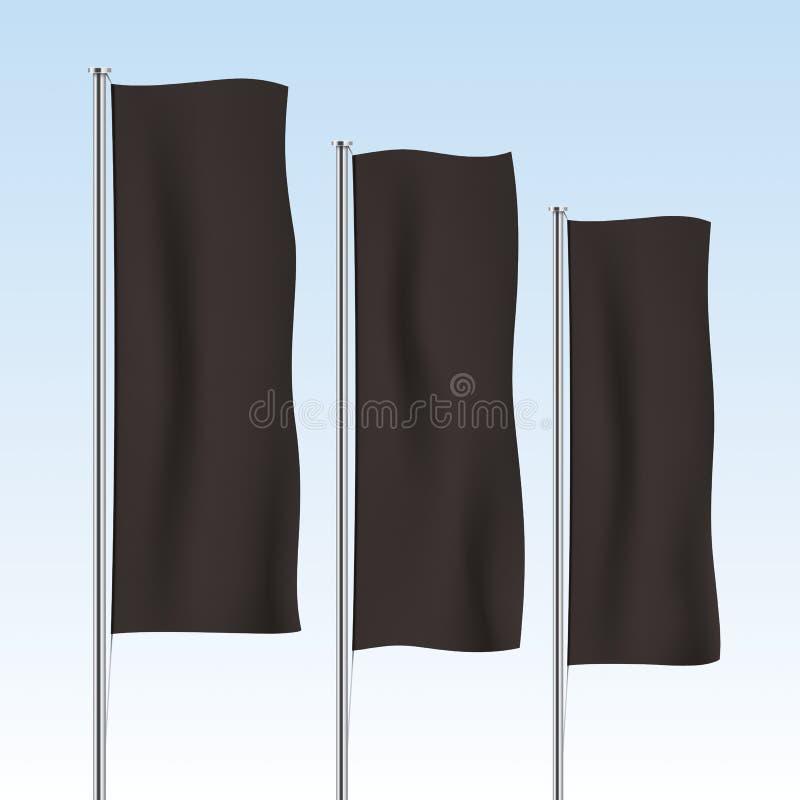 Zwarte verticale bannervlaggen op een hemelachtergrond vector illustratie
