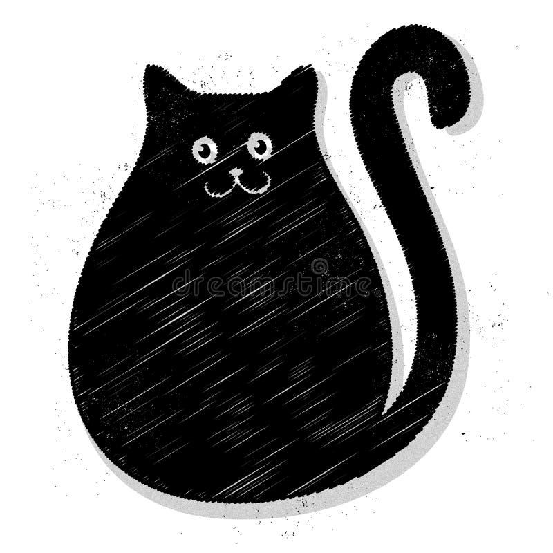 Zwarte vette kat stock illustratie
