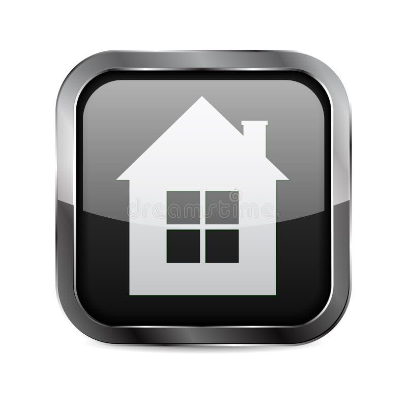 Zwarte vierkante 3d knoop Eenvoudig gestileerd pictogram van plattelandshuisje vector illustratie