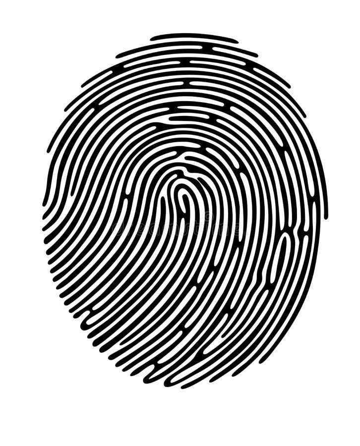 Zwarte vingerafdrukvorm, veilige identificatie Vector illustratie vector illustratie
