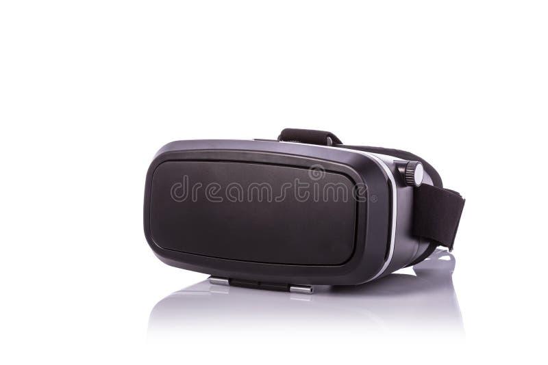 Zwarte virtuele werkelijkheidsglazen Studioschot op witte bac wordt geïsoleerd die stock afbeeldingen