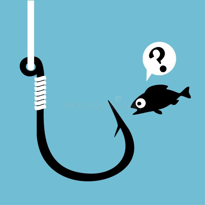 Zwarte vissenhaak met vislijn op blauw Grappige bang gemaakte beeldverhaalvissen die haak bekijken Concept verwarring Dichte dan vector illustratie