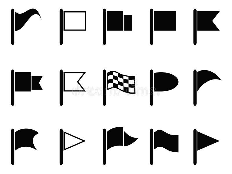 Zwarte vlagpictogrammen royalty-vrije illustratie