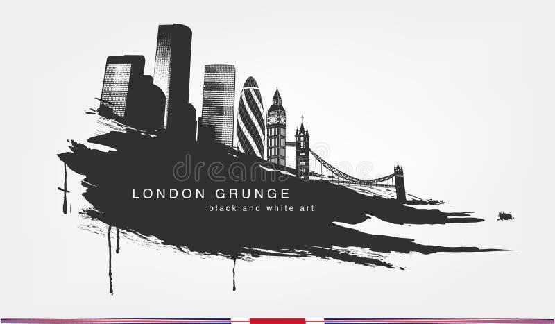 Zwarte vlekwaterverf Abstracte textuur grunge met de stad van Londen royalty-vrije illustratie