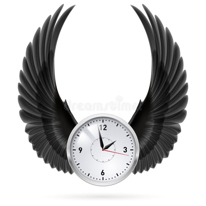 Zwarte vleugels Klok royalty-vrije illustratie