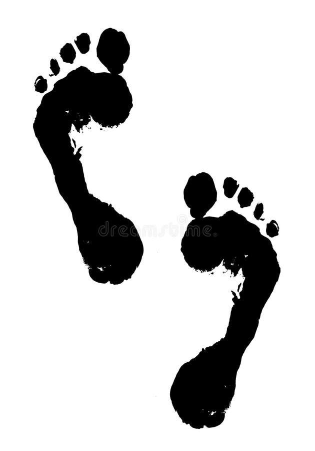 Zwarte voetafdrukken stock illustratie