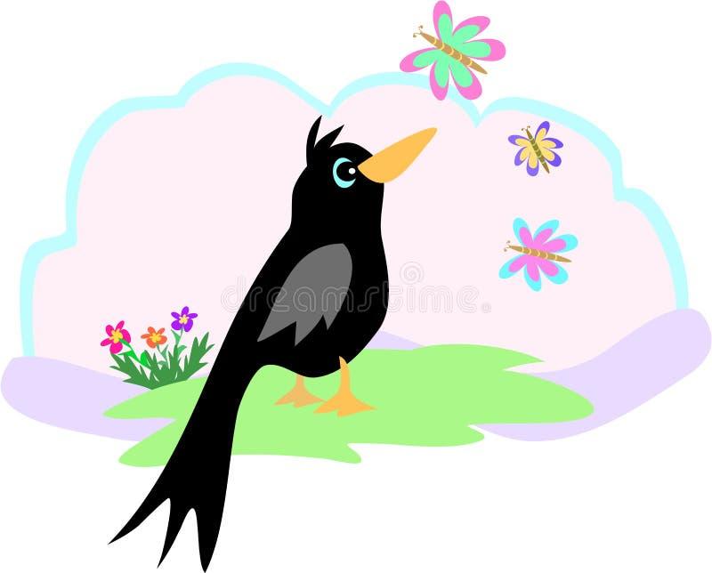 Zwarte Vogel en Vlinder vector illustratie