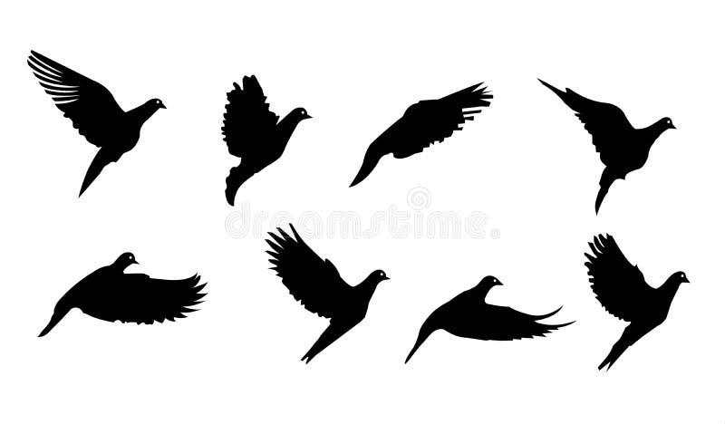 Zwarte vogel het vliegen symboolvector royalty-vrije stock afbeeldingen