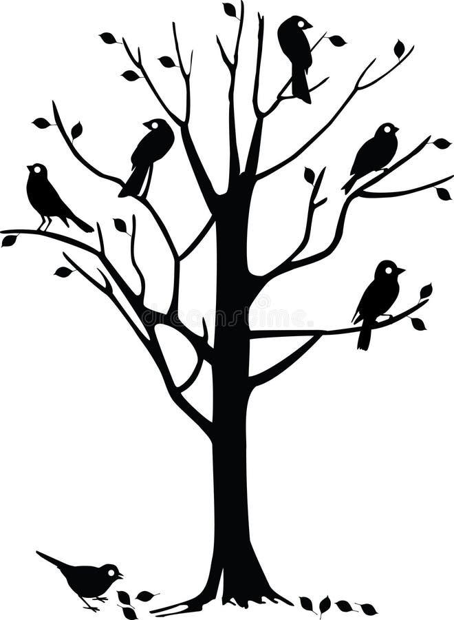 zwarte vogels op boom royaltyvrije stock afbeelding