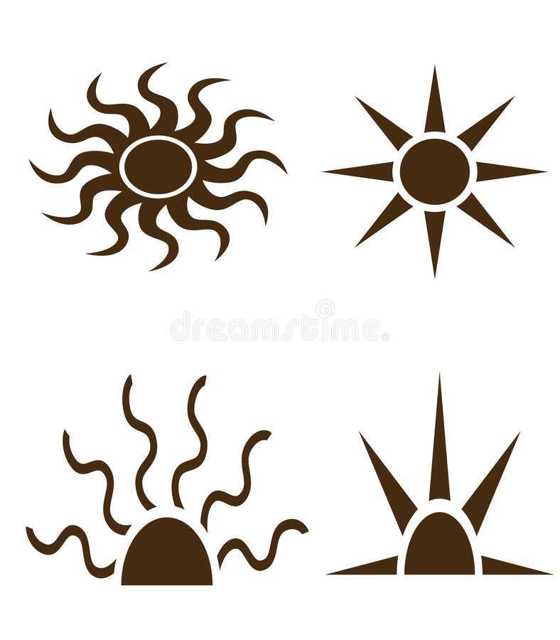 Zwarte vormen van zon en stralen vector illustratie