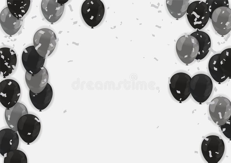 Zwarte vrijdag Bannermalplaatje met Zwarte Ballons vector illustratie