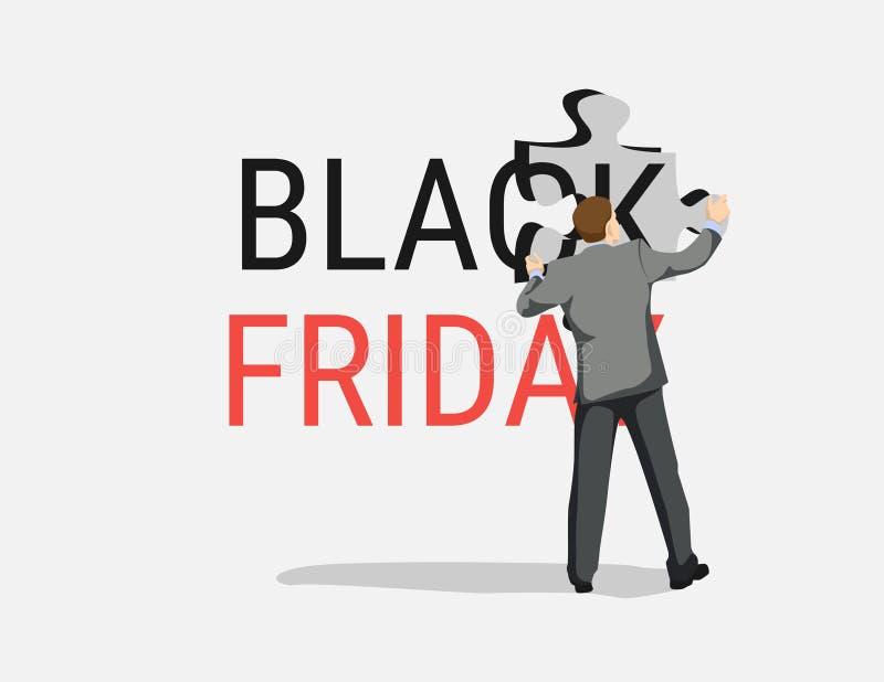 Zwarte vrijdag Bedrijfsleiding Black Friday-het malplaatje van de verkoopvlieger royalty-vrije illustratie