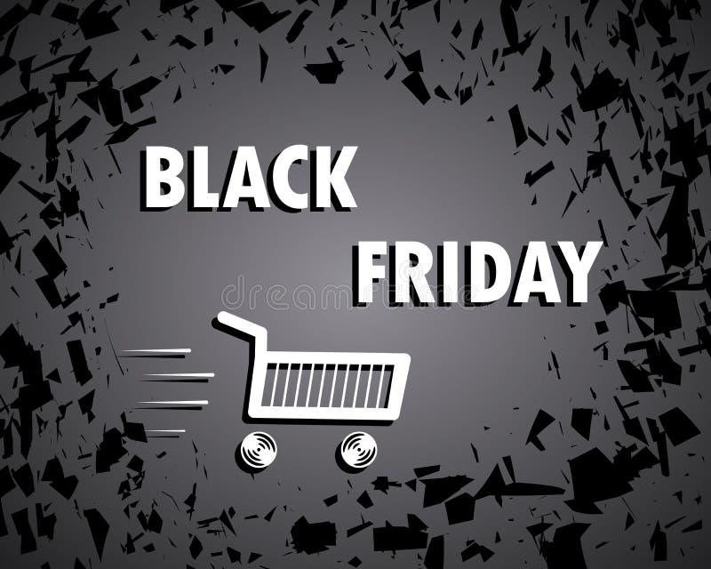Zwarte vrijdag Concept, verkoop Bons de scherven boodschappenwagentjebanner Grote Korting Vector illustratie royalty-vrije illustratie