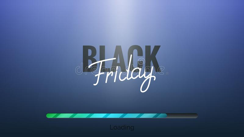 Zwarte vrijdag Hand die Black Friday van letters voorzien en bar laden Banner van de de winter de seizoengebonden verkoop royalty-vrije illustratie