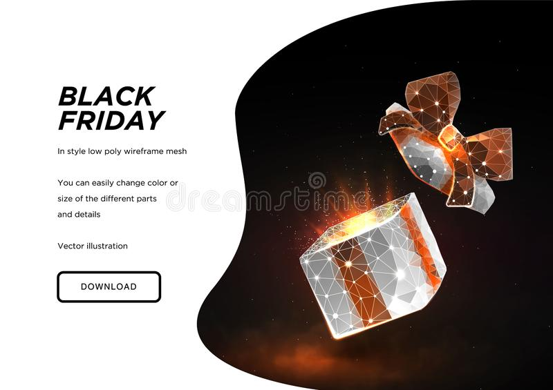 Zwarte vrijdag Open giftdoos Lage polywireframekunst op donkere achtergrond Concept voor vakantie of magisch of mirakel Doos in d stock illustratie