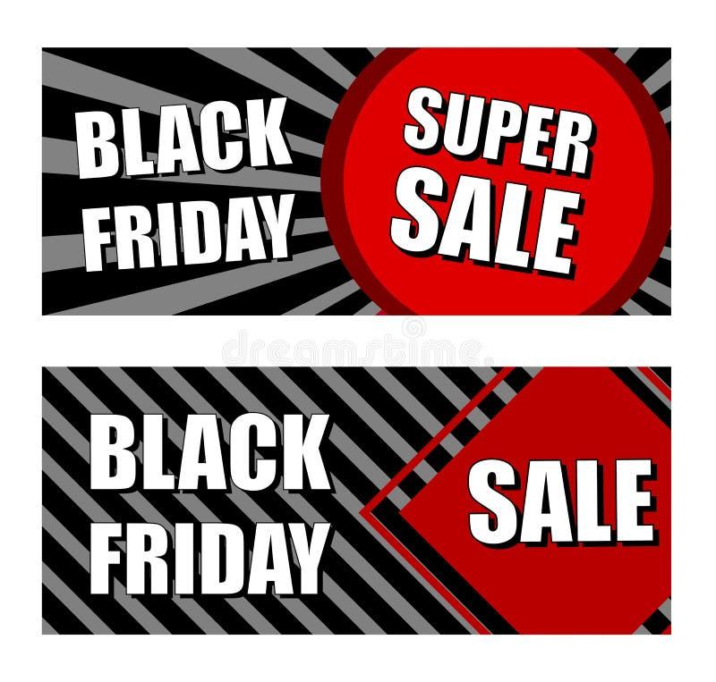 Zwarte vrijdag super verkoop, handelsbanners stock illustratie