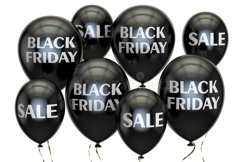 Zwarte vrijdag Verkoop en kortingsconcept met ballons 3d geef terug stock illustratie