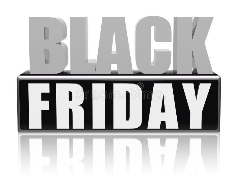 Zwarte vrijdag in zwarte witte banner - brieven en blok stock illustratie