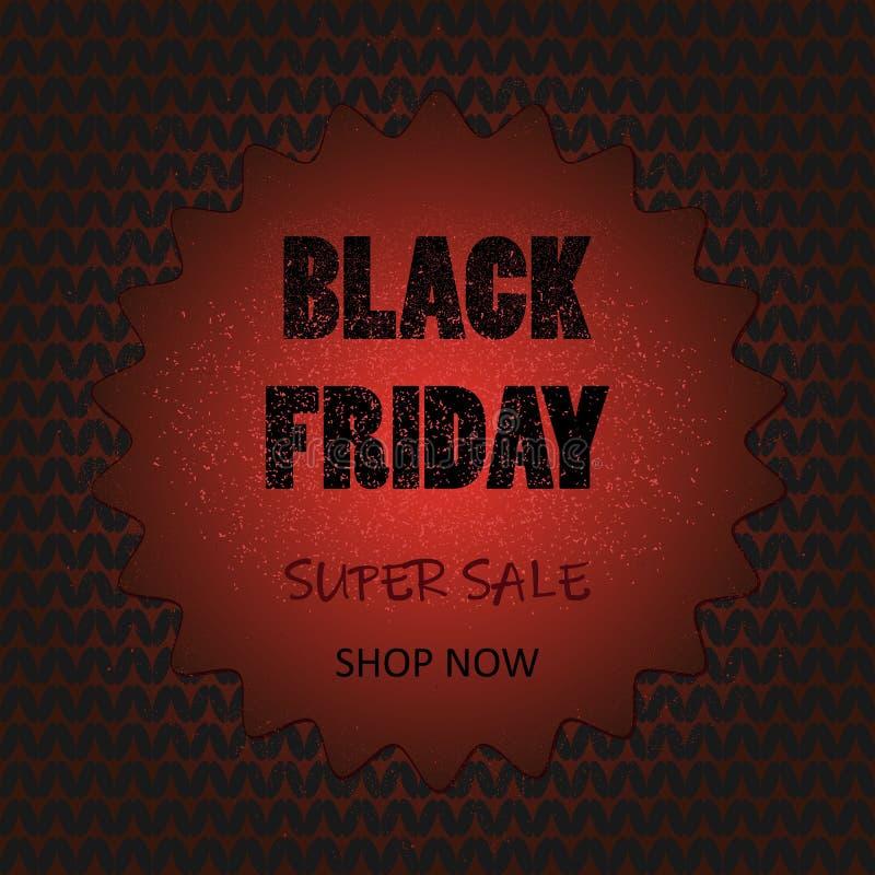 Zwarte vrijdagbanner met gebreid patroon op achtergrond stock illustratie