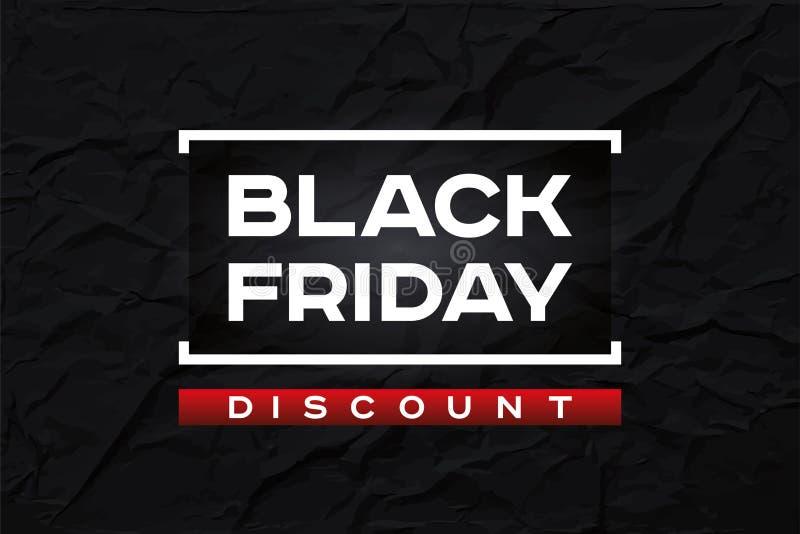 Zwarte vrijdagkorting De donkere gerimpelde document textuur, vat zwarte achtergrond samen Rood accent Vectorontwerpvorm voor u z stock illustratie