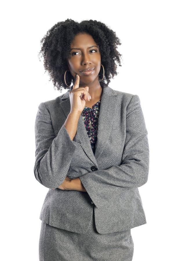 Zwarte Vrouwelijke Onderneemster Thinking of Brainstorming stock foto