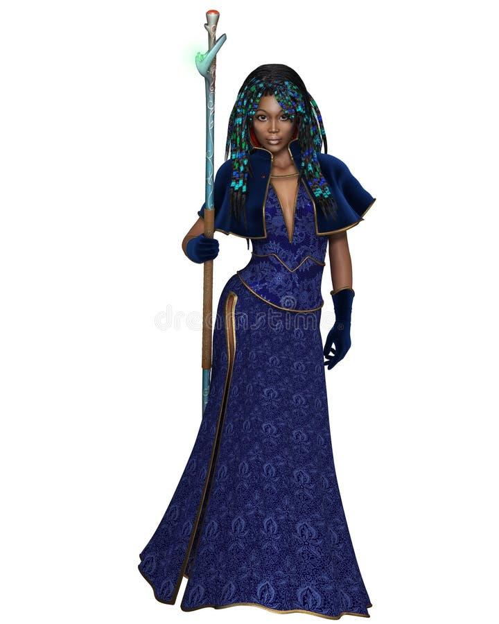 Zwarte Vrouwelijke Tovenares met Magisch Personeel - vooraanzicht royalty-vrije illustratie