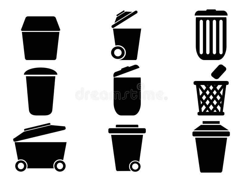 Zwarte Vuilnisbakpictogrammen vector illustratie
