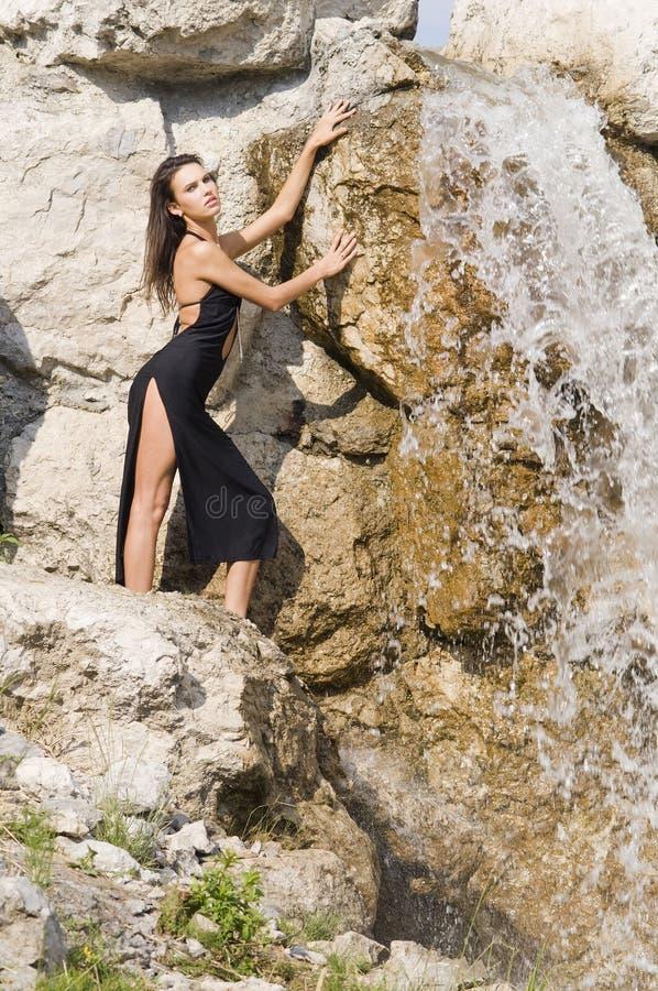 Zwarte waterval royalty-vrije stock afbeeldingen